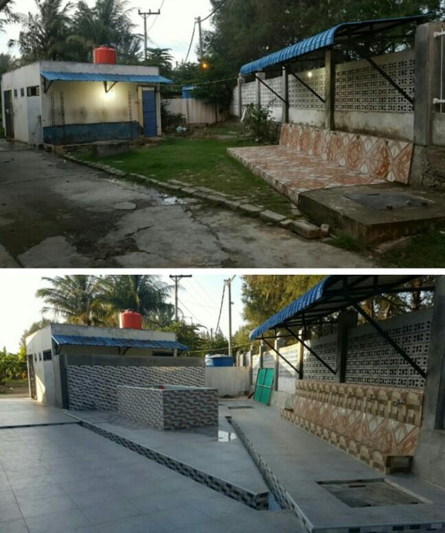 Kondisi tempat wudhu sebelum dan sesudah di kerjakan. FOTO h7 - dok BKM -